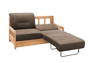 Schlafsofa Sofa Couch mit Schlaffunktion Schlafcouch Massivholz Braun 40664
