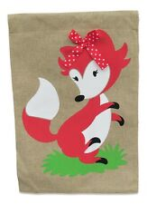 Burlap Happy Fox with Red and White Polka Dot Bow Garden Flag Yard Decoration; 1