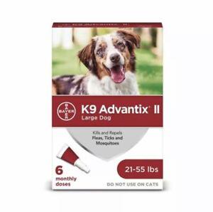 Bayer K9 Advantix II Flea Treatment Large Dog 21-55 lbs 6 Doses