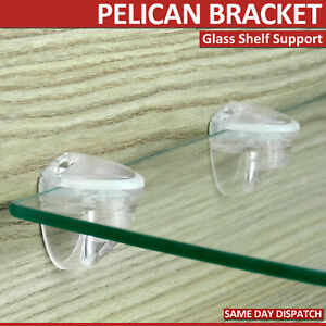 2 Adjustable Pelican Brackets Clear Glass Shelf Support Pair of Small Size 3-8mm