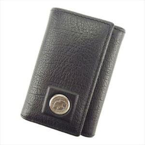 HUNTING WORLD Key case Key holder leather Black Mens Authentic Used H596