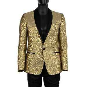 Dolce & Gabbana Martini Baroque Jacquard Blazer Jacket Tuxedo Gold Black 07582