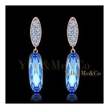 18k Rose Gold EP 4.3ct Brilliant & Oval Cut Aquamarine Crystal Stud Earrings