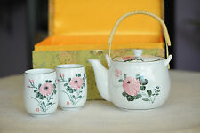Tea Set Chrysanthemum White - Pink and Green - Two Cups - Ornate Fabric Case