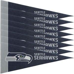 "Seattle Seahawks 4"" x 9"" Mini Pennant Banner Flag Fan Cave Decor 8 Pack Set NFL"