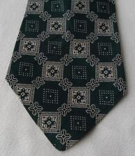 Vintage Retro Clip On Men's Tie Dark Green Geometric 4