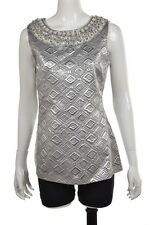NEW Tory Burch Top Sz 12 Silver Metallic Printed Blouse Sleeveless Shirt