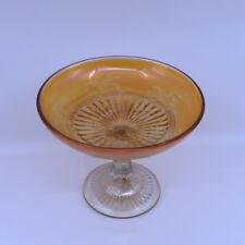 Carnival Glass Flannel Flower Comport in Marigold, rarest pattern