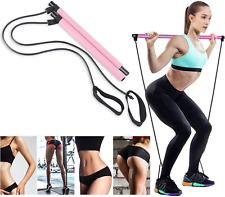 Portable Pilates Bar Stick Kit Body Exercise Bar Yoga Stick Resistance Band US