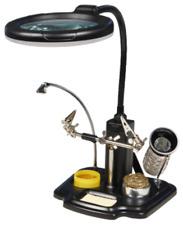 Dritte Hand mit LED-Lupe, Lötkolben-Halter,Schwamm, 3x Vergrößerung inkl.Batt_K