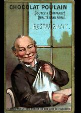 IMAGE CHROMO CHOCOLAT POULAIN / REPAS au RESTAURANT / Poeme de FLORIAN au verso