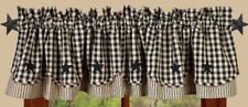 Country Heritage House Black Lined Layered Valance 72X15.50 Check w/Stars Cotton
