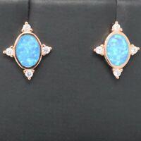 2 Ct Blue Australian Opal Stud Earrings 14K Rose Gold Plated Women Jewelry Gift