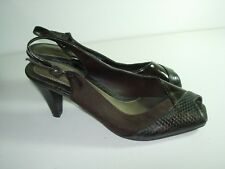 WOMENS BROWN SLINGBACK OPEN TOE PUMPS CAREER COMFORT HEELS SHOES SIZE 6 M
