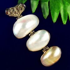 Natural White Pearl Shell Wrapped Tibetan Silver Cucurbit Pendant Bead D66682