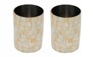 Mother of Pearl Toothbrush Pen Holder Bathroom Décor Accessories Set of 2