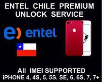 Entel Chile Premium Unlock Service: All IMEI: iPhone 4, 5, SE, 6, 6S, 7, 7+