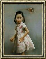 "Original Oil Painting female art chinese Small girl on canvas 30""x40"""