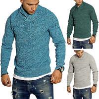 Selected Herren Strickpullover Schalkragen Klassisch Meliert Pullover Sweater %