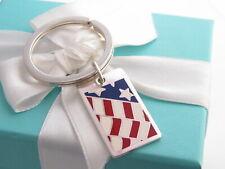 Nuevo Tiffany & Co Plata Bandera Esmalte Llavero