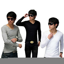 Men Fashion Slim V-Neck Fit Cotton Long Sleeve Casual T-Shirt Blouse Tops Lot