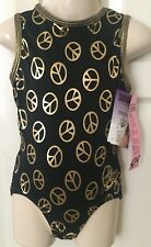 **NEW** GK gymnastics leotard CL child large Shawn Johnson gold peace NWT