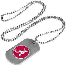 Alabama Crimson Tide Dog Tag Necklace with a embedded collegiate medallion