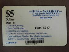 Prepaid Kaart gebruikt TELEDATA $5 - Military card: used in Angola and Bosnia