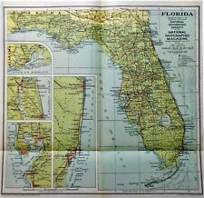 OLD VINTAGE MAP FLORIDA USA c1930 NATIONAL GEOGRAPHIC by WILLIAMS & HEINTZ