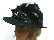"""Womens wool felt hat 1930's 1940's style brimmed with feathers one size 22 1/4"""""""