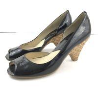 Michael Kors 8M Heel Patent Leather Peep Toe Woven Heel Slip On
