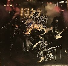 KISS Signed Vinyl Gene Simmons Autograph Record Alive Ace Frehley Peter Criss