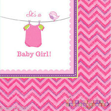 SHOWER WITH LOVE GIRL SMALL NAPKINS (16) ~ Baby Party Supplies Beverage Dessert