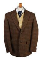 "Vintage Harris Tweed Blazer Jacket Classic Windowpane Chest 47"" Brown - HT2862"