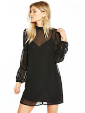 adf81c5ad30f8 Lost Ink Petite High Neck Gathered Sleeve Swing Dress UK Size 10 Td092 AD 02