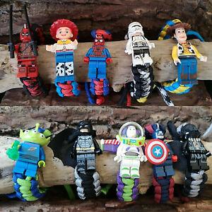 *LEGO FIGURE PARACORD BRACELET SUPERHERO TOY STORY STAR WARS DC MARVEL KIDS GIFT
