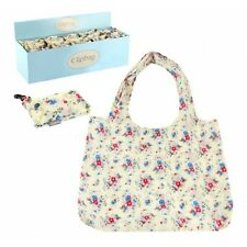 Cream with Floral print Fold Up reusable Shopping Bag In Pouch Clip key ring
