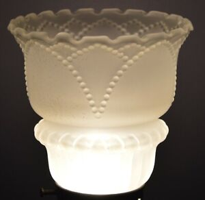 VINTAGE FROSTED BEADED LAMP SHADE RUFFLED EDGE 2 1/4 INCH FITTER
