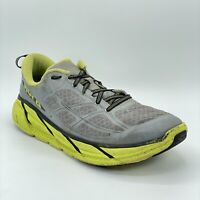 Hoka One One Mens Clifton 2 Gray Green Running Shoes Lace Up Low Top Size 11.5