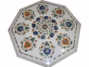 "24"" Marble Coffee Sofa Table Top Pietra dura Handmade Art & Crafts Home Decor"