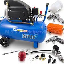 BITUXX® Druckluftkompressor 50L Kompressor mit 13 tlg Druckluft Zubehör Set