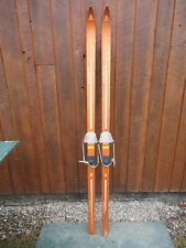 """New listing Beautiful Old Vintage Wooden 71"""" Snow Skis Has Brown Finish Great Decoration"""