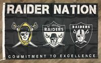 "Oakland Raiders NFL Flag 3x5 ft Banner Football ""Raider Nation"" Man-Cave NEW"