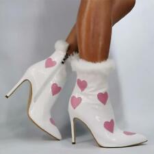New Women Pointy Toe Heat Print Stilettos High Heels Ankle Boots Zipper Shoes fu