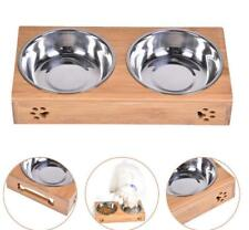 2018 Double Bowls Raised Stand For Cat Pet Dog Stainless Steel Feeder Food Bowl❤