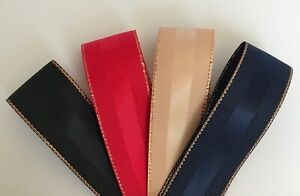 Grosgrain Ribbon with Gold Edging & Satin Centre, 25mm width, 3m or 5m lengths