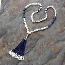 "37"" White Rice Pearl Lapis Tassel Necklace"