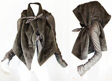 RICK OWENS Brown Alpaca Fur & Leather Druid Oversized Hood Cropped Jacket US 4