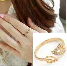 Fashion Womens Crystal Leaf Ring Adjustable Finger Jewelry Gift New w87