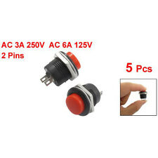 New 5 X Momentary SPST NO Red Round Cap Push Button Switch AC 6A/125V 3A/250V DT